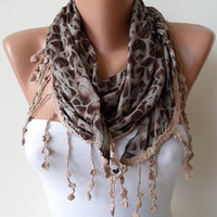 Brown and Leopard and Elegance Shawl / Scarf with by SwedishShop