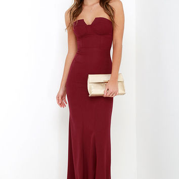 Ladylove Wine Red Strapless Maxi Dress