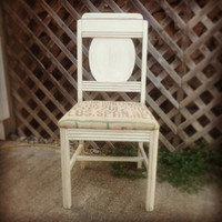 Vintage Side Chair, Hand Painted and Distressed, Chalk Painted, Recycled Burlap Coffee Bag Seat, Shabby Chic Accent Chair, Chippy Chair