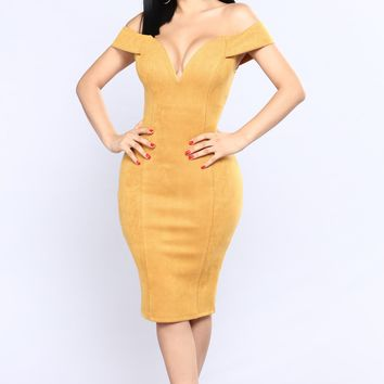 Golden Shoulder Dress - Mustard