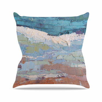 "Carol Schiff ""On the Beach"" Coral Blue Outdoor Throw Pillow"