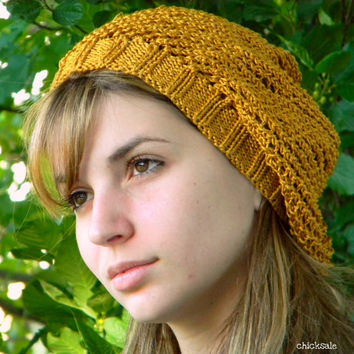 Womens summer hat. Handknit mesh hat. Hippie hat. Baggy hat. Lace beret. Cotton viscose tam. Mustard yellow. Slouchy beanie. Unisex hat