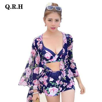 MDIG57D Bikinis Set for Sexy Ladies Pink Floral Three Pieces Swimwear With Covers-up Bathing Suit Women's Bikinis 6789