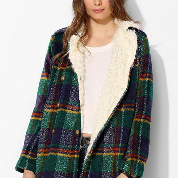 Lucca Couture Furry-Lined Plaid Peacoat - Urban Outfitters