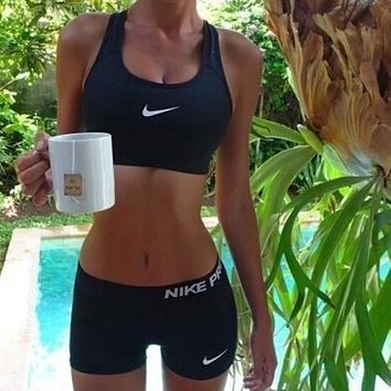 """NIKE"" Sport Vest Tank Top Bra Shorts Underwear Set Two-Piece Sportswear"