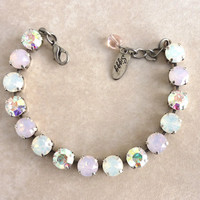 Swarovski crystal tennis bracelet, from the Chantilly collection, rose water opal, not sabika, it's a siggy, GREAT PRICE