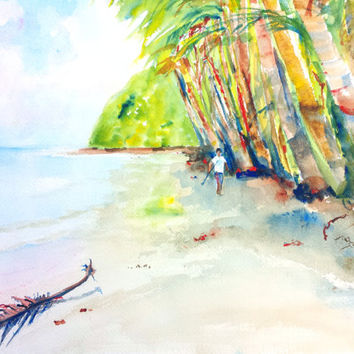 Original watercolor tropical beach landscape painting, 12x16,coconut trees, palm trees,ocean water, beach theme,Batibou Dominica island