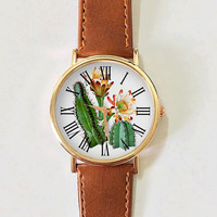 Cactus Watch Watches for Women Men Leather Ladies Jewelry Accessories Gift Ideas Spring Fashion Personalized Unique Vintage Flowers Plant