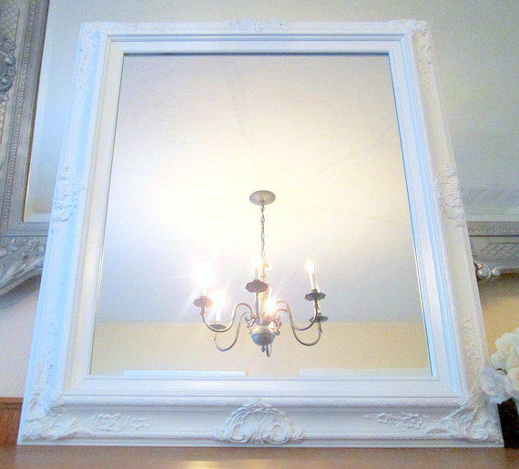 White vanity mirror for sale baroque from revivedvintage for Baroque bathroom mirror