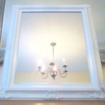 "WHITE VANITY MIRROR For Sale Baroque Framed White Framed Baroque Mirror French Country Home Decor 31""x27"" White Bathroom Mirror"