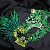 Metallic Masquerade Mask in Shades of Green