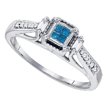 10kt White Gold Women's Princess Blue Color Enhanced Diamond Bridal Wedding Engagement Ring 1/5 Cttw - FREE Shipping (USA/CAN)