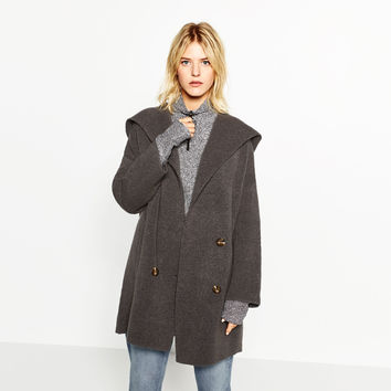 DOUBLE BREASTED JACKET WITH HOOD DETAILS