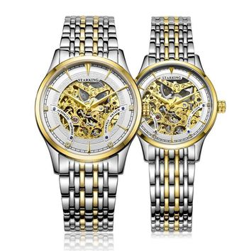 Luxury Golden Skeleton Automatic Watches Unisex Women And Men Couple Clock Stainless Steel Lover's Wrist Watch