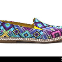 Born Hippy  / Geometry Multicolor Espadrilles / Handmade fabric & leather shoes FREE SHIPPING