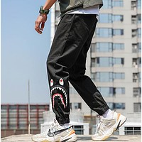 AAPE BAPE Popular Men Women Shark Mouth Print Sport Pants Trousers Sweatpants Black