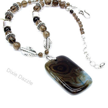 Smoky quartz and agate pendant necklace, bold necklace, large silver beads, office wear, neutral colors, gray, adjustable length necklace