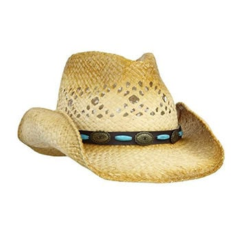 Straw Cowboy Sun Hat w/ Shapeable Brim and Vegan Leather Bead, Concho Trim