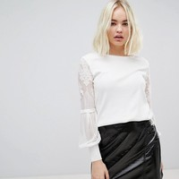 New Look Lace Sleeve Jumper at asos.com