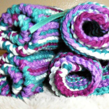 Hand crafted knit dish cloth Set of 4--Shades of purple, green and white
