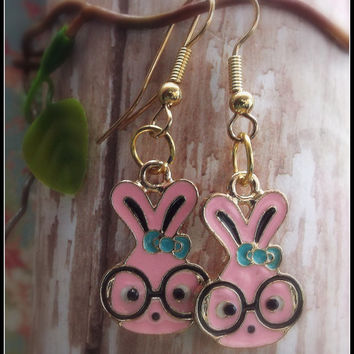 Whimsical Pink Bunny Earrings, Jewelry Gifts, Girls Jewelry
