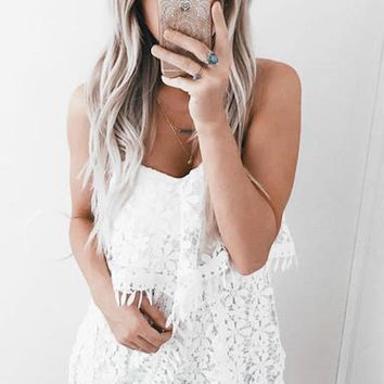Fringe All Over Romper - White - FINAL SALE