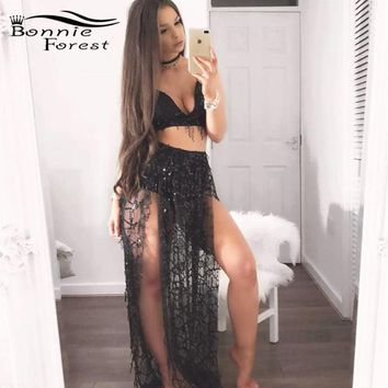 Bonnie Forest Glitter Womens Sexy High-Slit Flowing Sequins Maxi Dress Fashion See Through Party Night Club Two-Piece Dress Set