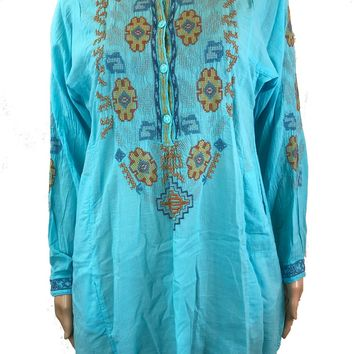 Biya by Johnny Was Riccah Aqua Cotton Tunic