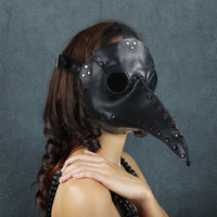 Plague Doctor mask in black leather Schnabel by TomBanwell on Etsy