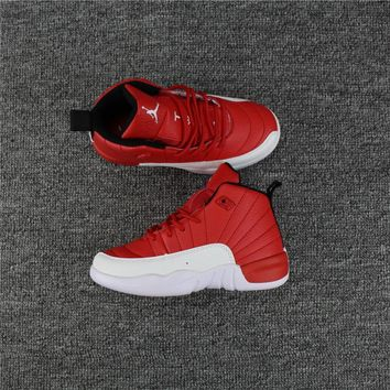 Kids Air Jordan 12 Red/White Sneaker Shoe Size US 11C-3Y