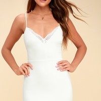 Secret Crush White Lace Bodycon Dress