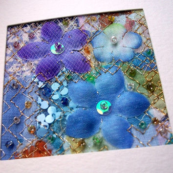 Blue silk flower fabric art card  - beaded patchwork  - handmade card - 5 inch square card - stitched card - art quilt - Mothers Day card