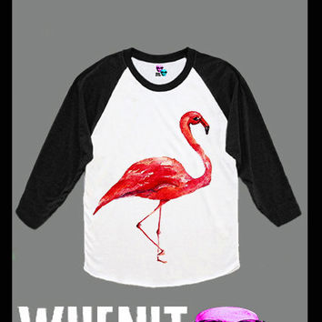 Flamingo hand print women baseball shirt 40420