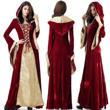 renaissance medieval dresses purple for women Robe gothics for girls Princess Queen Velvet Maid Halloween Costume Hooded cosplay