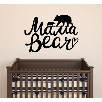 Vinyl Wall Decal Words Bear Mama Nursery Decor Stickers Mural 22.5 in x 15.5 in gz132