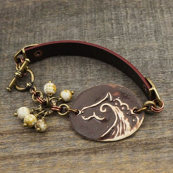 Ceramic horse bracelet, brown leather mixed metal copper brass earthtones agate, 7 1/4 inches