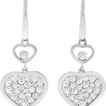 Chopard - Happy Hearts 18-karat white gold diamond earrings