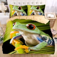 Frog 3D Bedding Set  Monocerus Print  Duvet cover set Twin queen king Beautiful pattern Real effect lifelike bedclothes