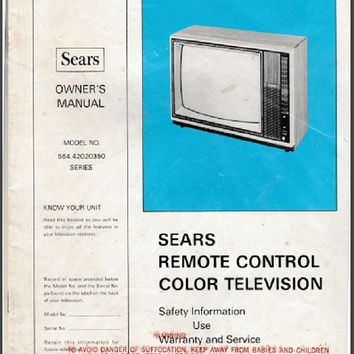 Sears Remote Control Color Television Owner's Manual For TV Model 564.42020350 Series Complete Original Vintage Electronics Ephemera