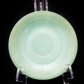 Vintage Jadeite Saucers Fire King Jane Ray Pattern Green Glass