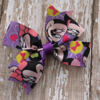 Pinwheel Hairbow, Minnie Mouse Hairbow, Purple Yellow Pink, Toddler Hair Bows, Hair Clips, Petite Bows, 3 Inch, Toddler Hairbow