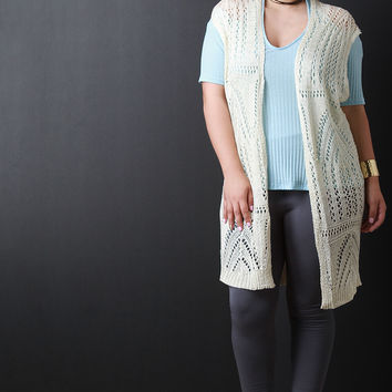 Knit Crochet Open Front Cardigan
