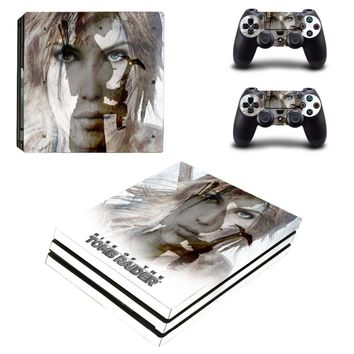 Rise of The Tomb Raider PS4 Pro Skin Sticker Decal for PlayStation 4 Console and 2 Controller PS4 Pro Skin Sticker Vinyl