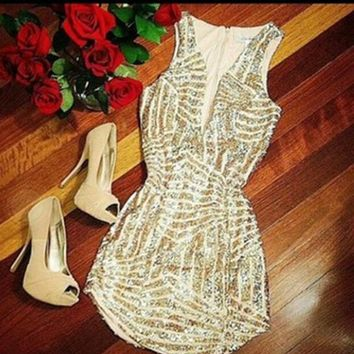 CUTE SHINING SEQUINS V COLLAR DRESS