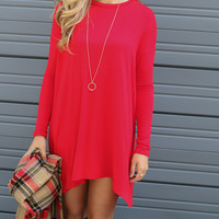 Now Becoming Royalty Red Long Sleeve Tunic Dress
