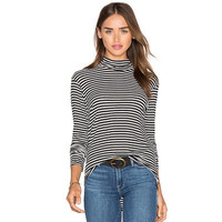 Hot Popular Autumn Winter Women Stripes Printed High Collar Neck Long Sleeve Top T-Shirt a12917