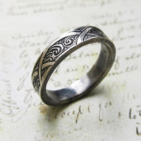 Engraved White Gold Ring, 14k with Waves and Arches, Men's Band, Unisex, Wedding, Celtic, Groom's Ring... 5mm