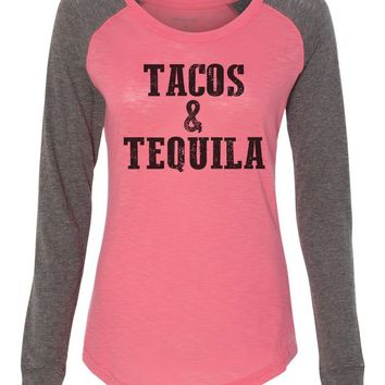 "Womens ""Tacos & Tequila"" Long Sleeve Elbow Patch Contrast Shirt"