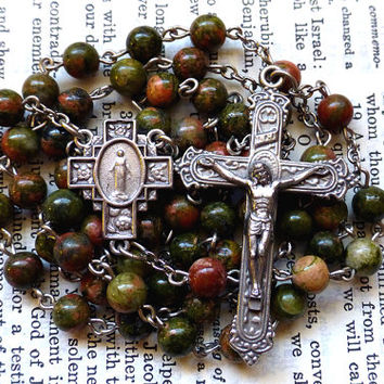 Gemstone Rosary - Unakite Rosary, Miraculous Medal, Green and Pink