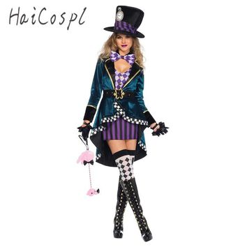 Cool Halloween Sexy Dress in Wonderland Costumes Cosplay Women Girls Alice Princess Quess Female Blue Coat And Purple SkirtAT_93_12